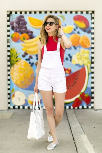 red sleeveless sweater white overall shorts