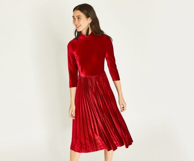 red three quarter sleeve mock neck pleated midi velvet dress