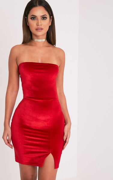 red tube dress silver choker