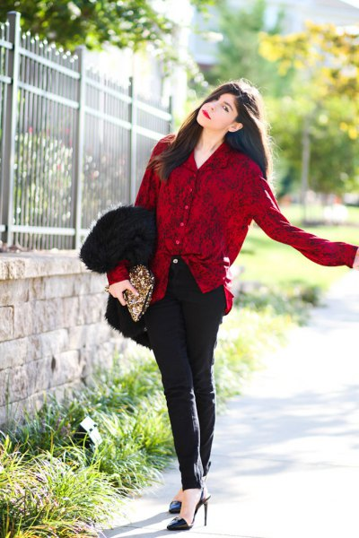 red velvet button up shirt black skinny pants
