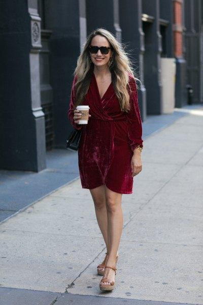 red velvet mini wrap dress platform heels