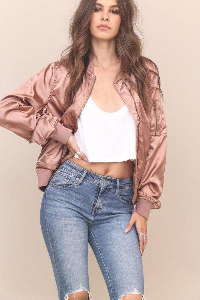 rose gold bomber jacket black crop vest top ripped jeans