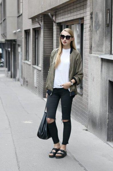 rose gold jacket white t shirt black ripped skinny jeans
