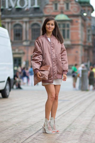 rose gold oversized bomber jacket white chiffon mini skirt