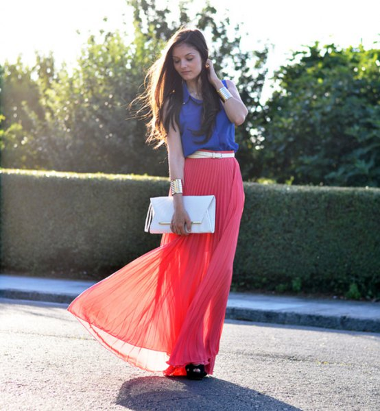 royal blue sleeveless top red maxi pleated skirt