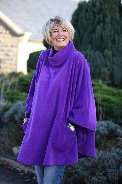 royal blue turtleneck fleece poncho