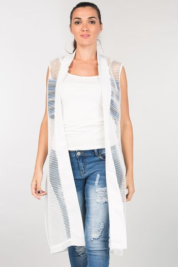 sleeveless white mesh shrug ripped jeans