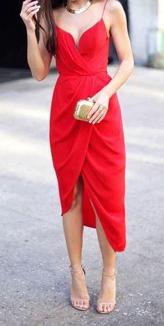 spaghetti strap sweetheart neckline red midi dress