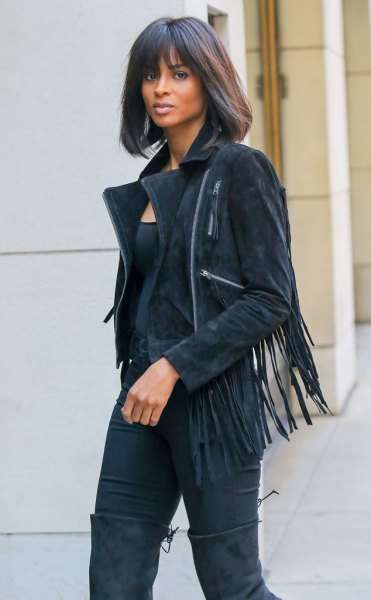 suede fringe jacket all black outfit