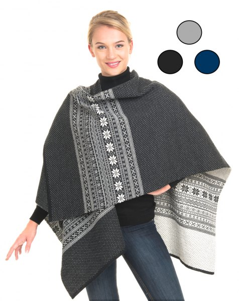 tribal printed grey and white wool poncho