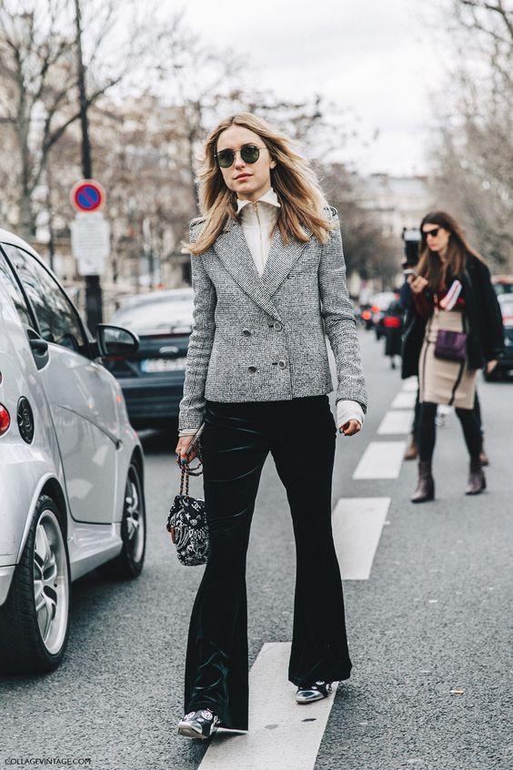 tweed blazer classic velvet bell bottoms