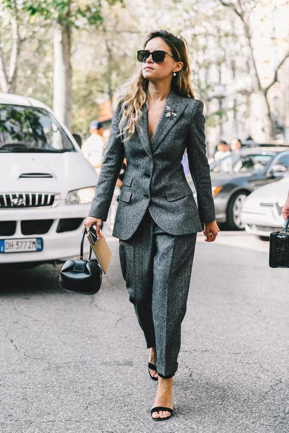 tweed blazer grey pantsuit