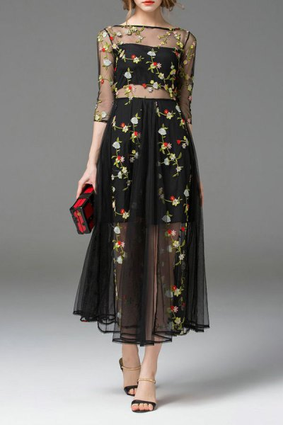 two piece black chiffon floral embroidered dress