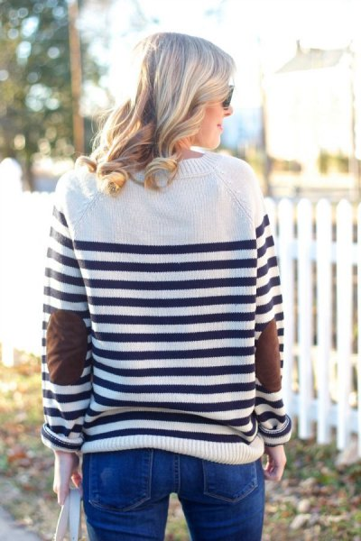 white and black horizontal striped knit sweater jeans