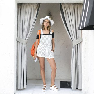 white and black vertical striped overall shorts felt hat
