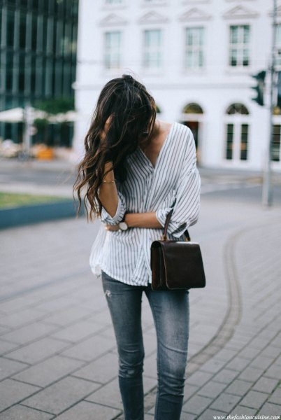 white and grey oversized pinstripe shirt jeans