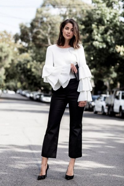 white bell sleeve ruffle blouse black cropped flared chinos