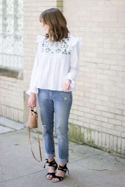 white boho style embroidered blouse