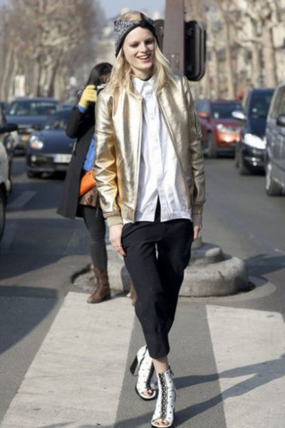 white boyfriend shirt black jogger pants