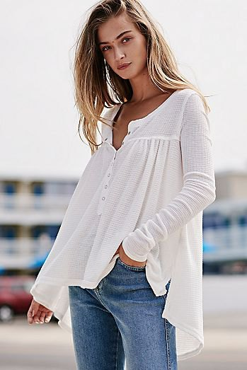 white breezy henley shirt jeans