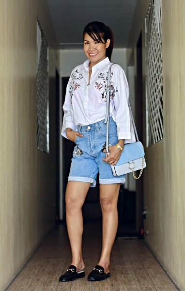 white button up shirt floral embroidered denim shorts