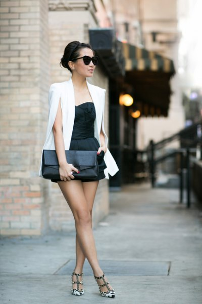 white cape blazer black sweetheart fit and flare mini dress