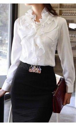 white chiffon ruffle blouse black pencil skirt