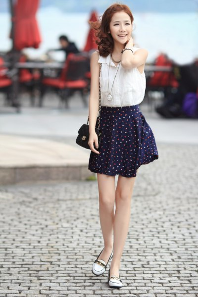 white chiffon sleeveless shirt black chiffon skater skirt