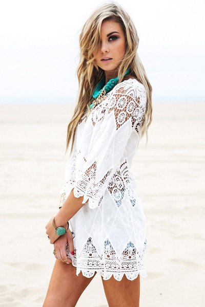 white crochet lace boho style cover up dress