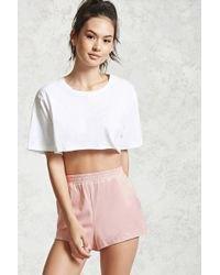 white cropped t shirt blush velvet mini shorts