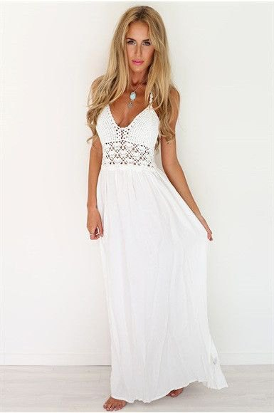 white deep v neck crochet maxi beach dress