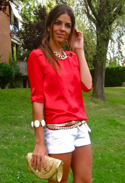 white denim mini shorts gold necklace