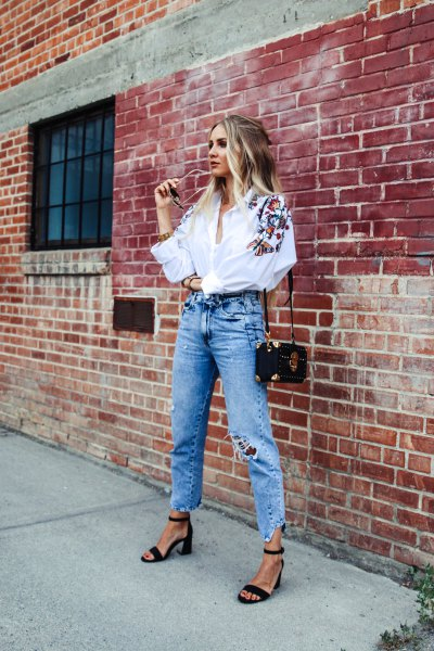 white embroidered blouse ripped boyfriend jeans