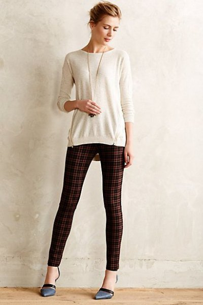 white fitted sweater green and black plaid ponte pants