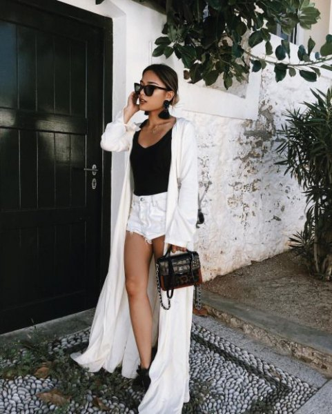white floor length kimono black vest top mini shorts