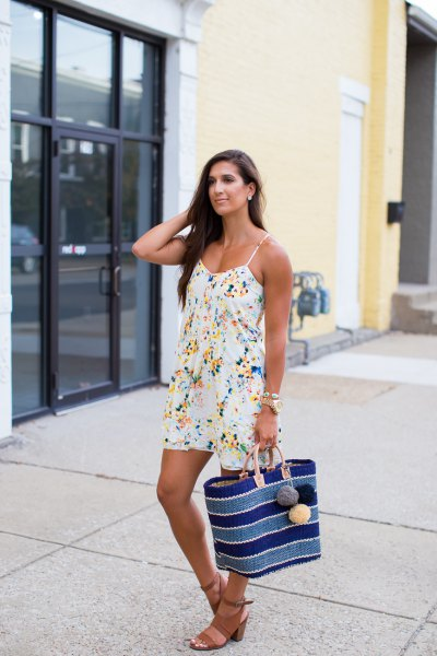 white flora cami dress with sandals