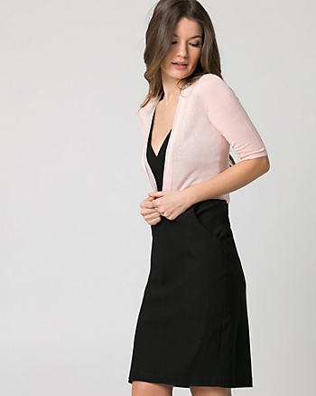 white half sleeve bolero jacket black deep v neck sheath dress