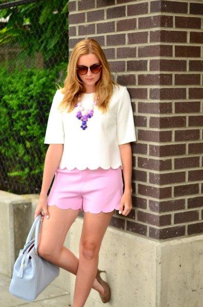 white half sleeve t shirt neon pink scalloped mini shorts