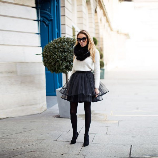 white knit sweater black tulle mini skirt