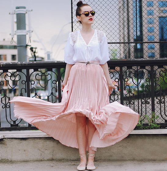 white lace blouse pink pleated maxi skirt silver belt
