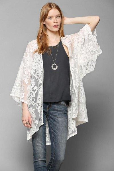 white lace kimono black vest top skinny jeans
