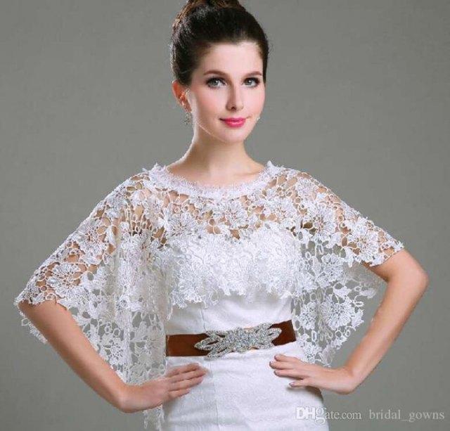 white lace shrug bridesmaid dress