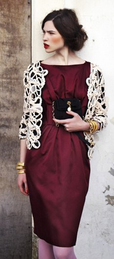 white lace shrug burgundy silk sheath midi dress