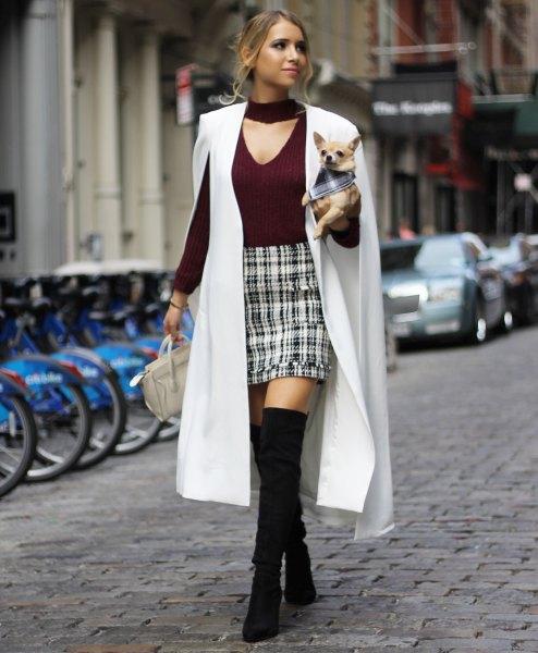 white maxi cape blazer black v neck sweater plaid mini skirt