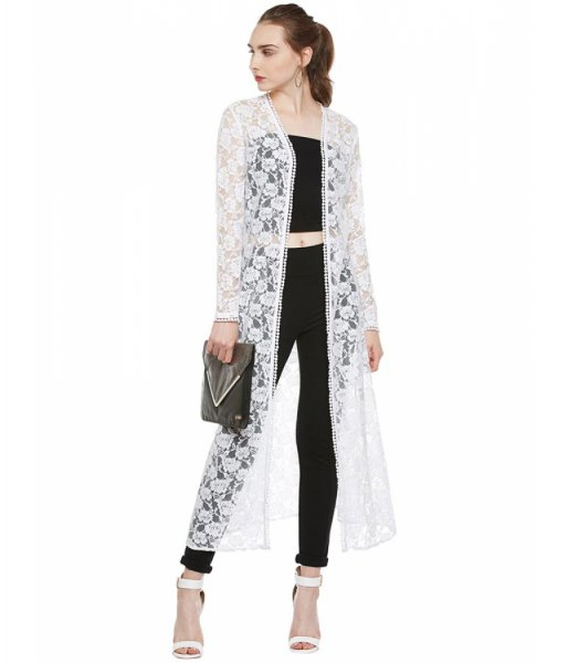 white maxi floral lace shrug black crop top skinny jeans