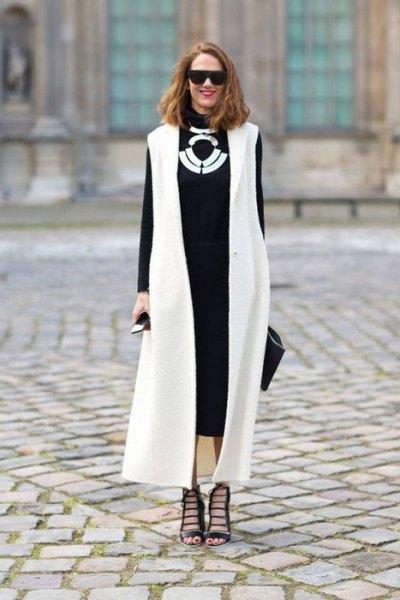 white maxi vest black midi dress