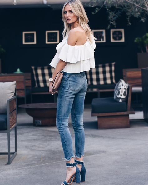 white off the shoulder ruffle top navy blue open toe heels