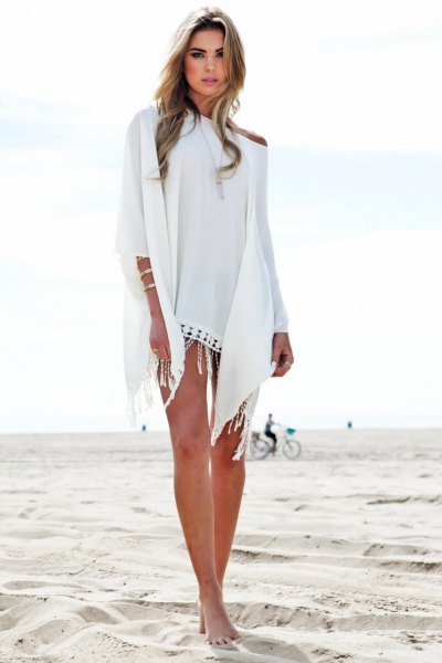 white one shoulder mini cape beach dress