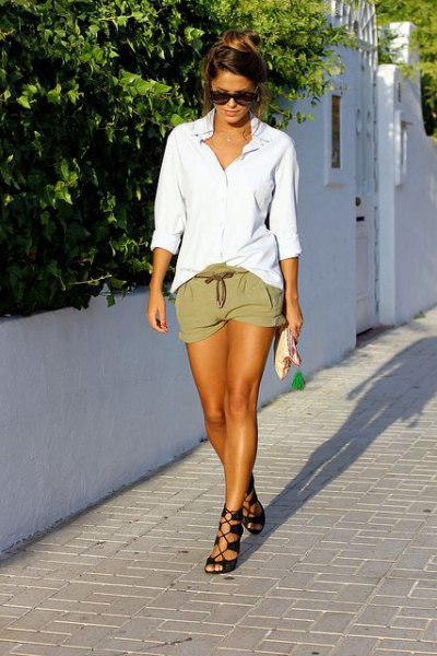 white oversized boyfriend shirt khaki shorts strappy sandals