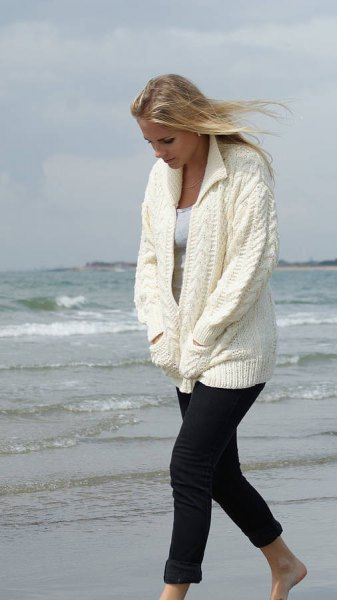 white oversized cable knit cardigan